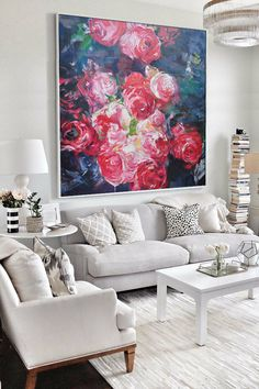 Abstract flower Oil Painting On Canvas, Original Art, Impressionist Landscape Painting by Jackson. [pt096] - $197.00 : Handmade Large Abstract  Painting On Canvas