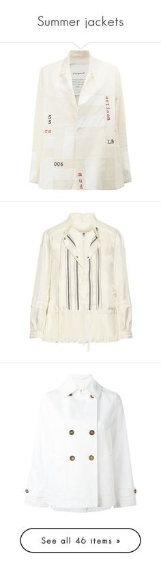 """Summer jackets"" by lorika-borika on Polyvore featuring outerwear, jackets, white, blazer jacket, white jacket, cotton jacket, white blazer jacket, white cotton blazer, cream и down feather jacket"