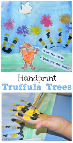 Handprint Truffula Trees inspired by The Lorax by Dr. Seuss