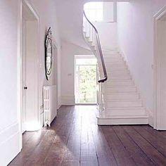 White stairs, white hallway