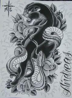 japanese black leopard tattoo - Google Search
