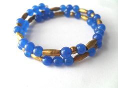 Gem Bracelet, Blue Gemstone and Ethiopian Brass Bangles - pinned by pin4etsy.com