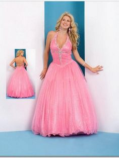 (HUNG0252989)2013 Style A-line Halter Beading Sleeveless Floor-length Tulle Pink Prom Dress / Evening Dress