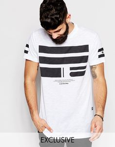 """Longline T-shirt by G Star Cotton jersey Crew neck Contrast print Longline cut Cut longer than standard length Machine wash 100% Cotton Our model wears a size Medium and is 5'11.5""""/181cm tall Exclusive to ASOS"""