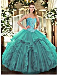 Turquoise Quinceanera Dresses - Vestido de Quinceanera Turquoise Quinceanera Dresses, Disney Princess Dresses, Custom Dresses, Turquoise Color, Formal Dresses, Wedding Dresses, Green Dress, Ball Gowns, Tulle