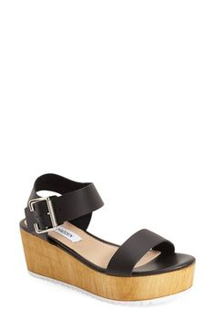 Free shipping and returns on Steve Madden 'Nylee' Platform Sandal (Women) at Nordstrom.com. A woodgrain platform and a toothy rubber sole grounds a summer-ready sandal shaped from smooth leather that instantly updates your warm-weather wardrobe.