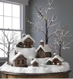 Twig Cabins and Houses Covered In Snow ~ rustic christmas village Noel Christmas, Country Christmas, Christmas Projects, Winter Christmas, Simple Christmas, Christmas Ideas, Cottage Christmas, Beautiful Christmas, Christmas Mantles