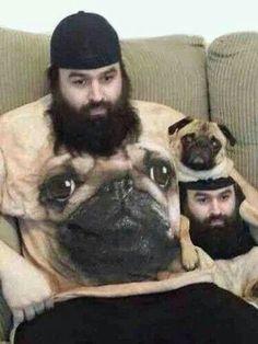 Man in pug shirt. Pug in man shirt