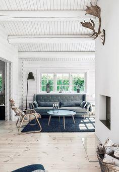 Hyggelig stue med sofa område, indbygget pejs og trofæ af et dådyr hængende på væggen