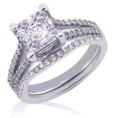 2.10 Ct Asscher Cut Diamond Wedding Rings Pave-Set