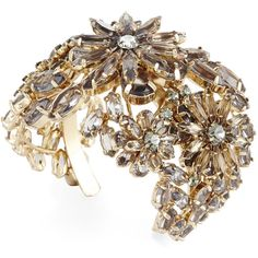 BCBGMAXAZRIA Floral Stone Cuff Bracelet found on Polyvore