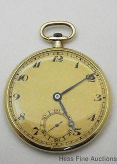 2.5mm Deep Thinnest Pocket Watch Ever LeCoultre 14k Gold Mens Art Deco #LeCoultre