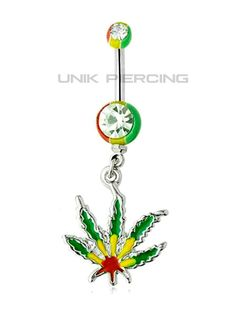 Piercing nombril cannabis rasta acrylique