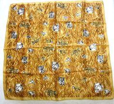 Vintage Scarf Lions Monkeys Jaguar Jungle by sweetie2sweetie, $8.99