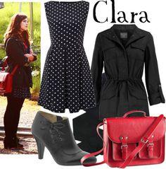 Clara    AX Paris polka dot dress, £22Dorothy Perkins black cotton jacket, $44Black pantyhose, €35Naturalizer leather lace up boots, $50H M leather shoulder bag, £15