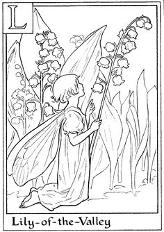 Fairy printable colouring page.  L is for Lily-of-the-Valley.