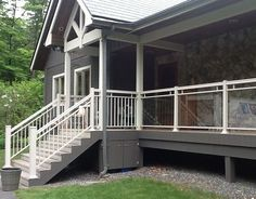 Outdoor renovation is equally important. Make the best of it with our exquisite line of aluminum and glass railings. Outdoor renovation is equally important. Make the best of it with our exquisite line of aluminum and glass railings. Glass Balcony Railing, Glass Porch, Patio Railing, Outdoor Railings, Railing Design, Fence Design, Hamptons Style Homes, Front Porch Design, Exterior Stairs