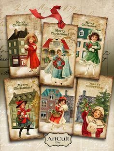 CHRISTMAS+JOY++Gift+Tags+Digital+Collage+Sheet+by+ArtCult+on+Etsy,+$4.99