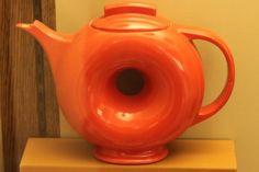 Orange Fiesta ware donut pitcher