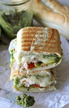 Pesto, Avocado, and Mozzarella Panini.