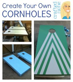 { DIY Cornhole Boards } Create your own beanbag boards! Best game ever! Diy Projects To Try, Crafts To Do, Craft Projects, Project Ideas, Wood Projects, Sewing Projects, Diy Cornhole Boards, Outdoor Fun, Outdoor Games