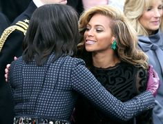 First lady Michelle Obama greets singer Beyonce after she performs the National Anthem during the public ceremonial inauguration for U.S. President Barack Obama on the West Front of the U.S. Capitol January 21, 2013 in Washington, DC.