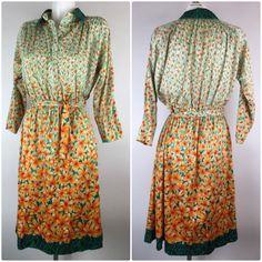 Vintage Floral Polyester Dress Long Sleeve Mod 60s 70s Daisies Orange Pink Green flower v neck collar belted all over print hippie by HazelHeartsVintage on Etsy https://www.etsy.com/listing/504668242/vintage-floral-polyester-dress-long