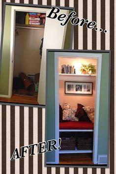 Boring old entry way closet into reading nook!