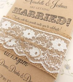 Rustic Wedding Invitation Burlap and Lace on por FromLeoniWithLove