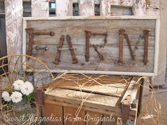 "Barn Wood Sign  ""FARM"" Upcycled Lettering made from Vintage Hardware  27' L x 11"" W  by SweetMagnoliasFarm, SOLD TO A GOOD HOME !"