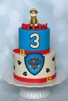 Paw patrol cake with Rubble topper