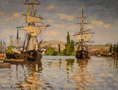 Claude Monet - Ships Riding on the Seine at Rouen, 1873 at National Art Gallery Washington DC