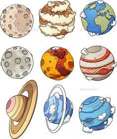 planet planets cartoon drawing mercury drawings earth space uranus jupiter solar system mars moon rymden graphicriver sketch painting clip vector