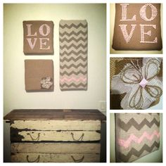"My homemade DIY burlap canvas hangings! 1 1/2"" foam from Home Depot, fabric and burlap! Super fun happy how they turned out :)"