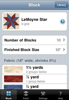 Great app for iPad/iPhone that figures your yardage and cuts for tons of blocks and quilt designs..