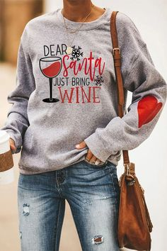 Dear Santa Just Bring Wine Letter Wine Glass Snowflake Heart Print Christmas T-shirt – Byrawie Short Sleeve Hoodie, Long Sleeve, Basketball Sweatshirts, Heart Print, Printed Sweatshirts, Women's Sweatshirts, Couture, Casual T Shirts, Types Of Sleeves