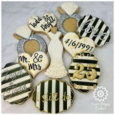 25th birthday anniversary cookies | wedding sugar cookies, black and white, silver and gold, wedding gown ...