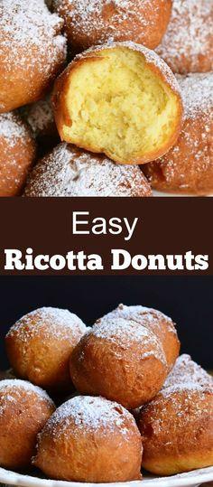 Ricotta Cheese Desserts, Baked Ricotta, Keto Desserts, Donut Recipes, Baking Recipes, Italian Desserts, Italian Recipes, Doughnut Holes, Work Meals