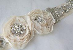 Stunning Rhinestone Bridal Belt Ivory Crystal by TheRedMagnolia