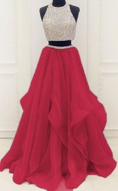 Red Beaded Prom Dress,Two Pieces A Line Prom Dress,Custom Made Evening Dress,Sweetheart prom dress,A-Line dress #HomecomingDress