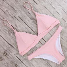 69920f3efe948 US $10.89 49% OFF|Sexy Solid Bikini 2019 Simple Swimwear Women Comfortable  Swimsuit Push Up Bathing Suit Female Striped Bikinis Mujer Biquini-in  Bikinis Set ...