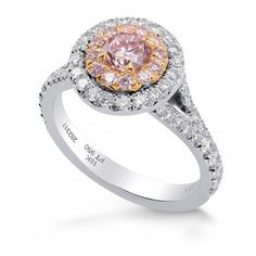 An amazing Fancy Intense Pink Round Diamond Halo Ring, SKU 282317 TW) and other loose diamonds, engagement rings and diamond jewelry by Leibish & Co. Diamond Jewelry, Jewelry Rings, Double Halo Rings, Diamond Dealers, Halo Diamond, Round Diamonds, Wedding Rings, Rose Gold, Fancy