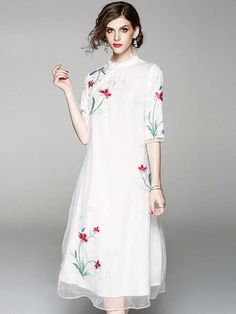 Embroidery Stand Collar Half Sleeve Vintage Shift Dress