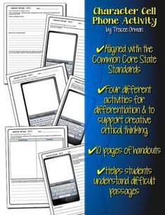 "Any Book Cell Phone Activity Common Core Aligned: Students become the characters and ""text"" their responses. Critical Thinking Activities, Reading Words, Library Lessons, Reading Workshop, Book Projects, Reading Strategies, Any Book, Graphic Organizers, High School"