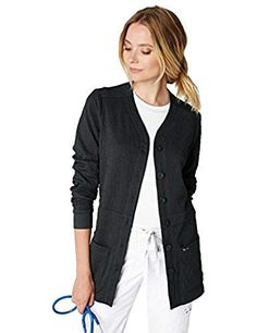 7fd5c0a3c03 KOI Lite Women's Claire Button Front Solid Cardigan Scrub Jacket