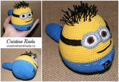 Minion stress ball, toy minion, amigurumi stress ball, funny minion, crochet minion, despicable me for children, gift for kids, cute balls - pinned by pin4etsy.com
