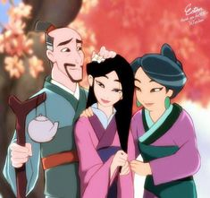 disney Mulan and her parents Disney Pixar, Disney Fan Art, Disney Animation, Disney And Dreamworks, Disney Cartoons, Disney Magic, Walt Disney, Disney Characters, Princesa Mulan