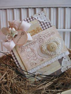 shabby chic CUTE AS A button handmade card