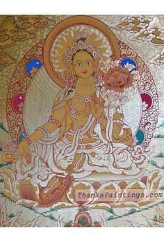 Green Tara Gold Lap Thangka