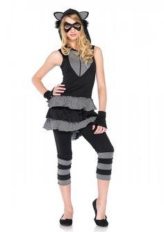 4PC Set Women/'s Deluxe Racy Raccoon Costume Striped Bodysuit /& Leg Warmers M-XL